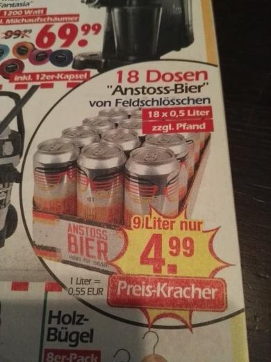 [Wreesmann] Anstoss Bier, 18Dosen a 0,5L für nur 4,99€ zzgl Pfand