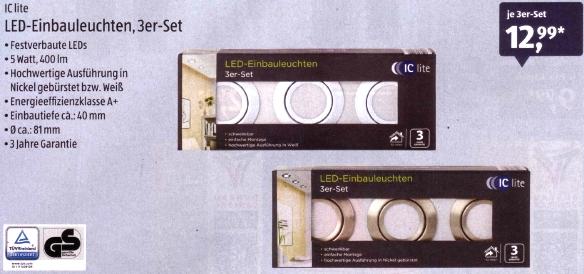 Aldi Süd: LED-Einbaustrahler im Dreier-Set (insgesamt 1200 Lumen) für 12,99 €