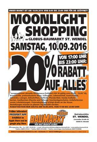 [Globus Baumarkt St. Wendel] 20% auf Alles am 10.09. 17:00 - 23:00 Uhr Moonlight Shopping