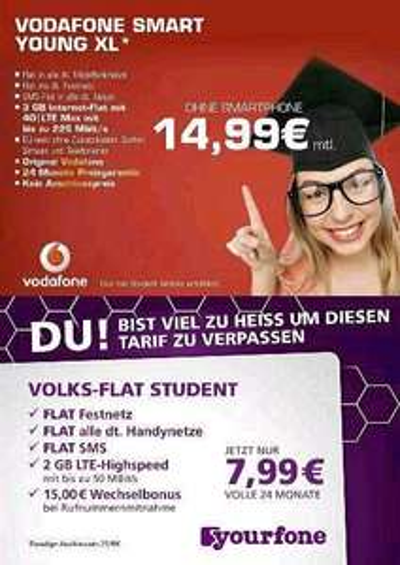 Vodafone Student Tarif mit 3GB LTE (24 Monate) 14.99  Bochum