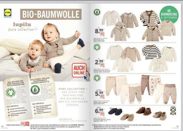 Ab heute: [LIDL] lokal und online: GOTS zertifizierte Babymode. Schadstofffrei, BIO