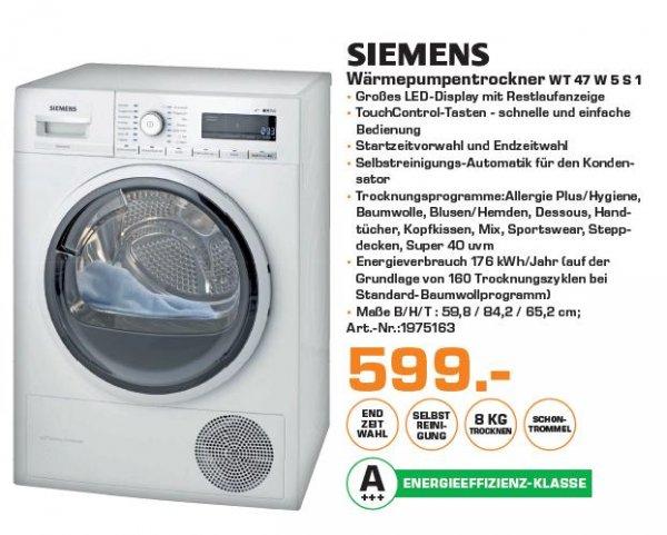 "Saturn Erlangen ""Siemens Wärmepumpentrockner WT 47 W 5 S1"""
