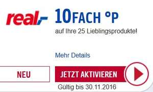[real] 3 Monate automatisch 10fach Payback Punkte auf 25 Lieblingsprodukte (bis 30.11.2016 / E-Coupon)