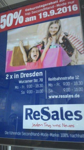lokal in Dresden 50% Geburttagsrabatt bei ReSales (Secondhandmode) am 19.9.2016