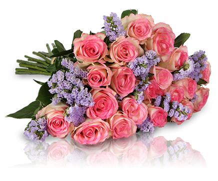 Blumenstrauß Lovely Rose mit 18 rosa Rosen und 7 Limonium für 18,90€ bei [Miflora]