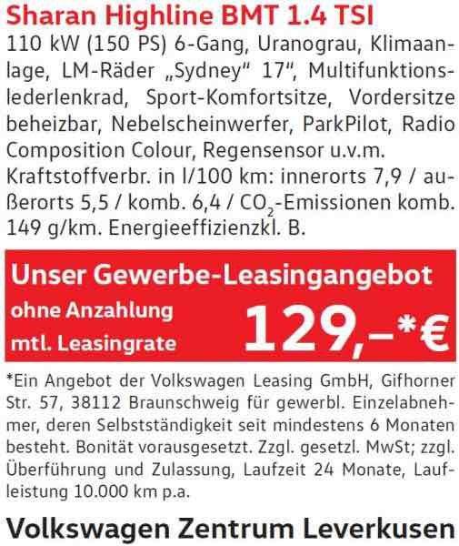 VW Sharan Highline 1.4 TSI für 129€ netto im Monat - Gewerbeleasing - VW Leverkusen