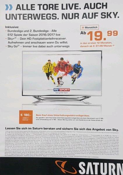 ?35,99€ pro Monat Sky inkl. aller Pakete + Box Sets + HD 180€ Rabatt ab 199€ Einkaufswert [bundesweit Saturn] 431,88 €
