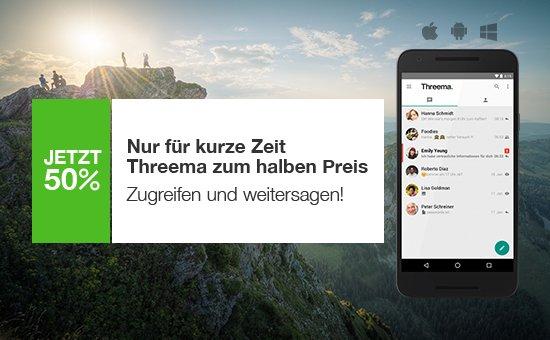 Threema 50% billiger - 0,99 bis 1,29 Euro (mit oder ohne googlePlay/Apple/Amazon im Threema-Store z.B. mit Paypal)