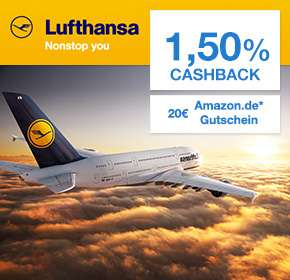 [Qipu(Shoop) / Lufthansa] Flugbuchung bei Lufhansa: 20€ Amazon.de Gutschein + 1,5% Cashback
