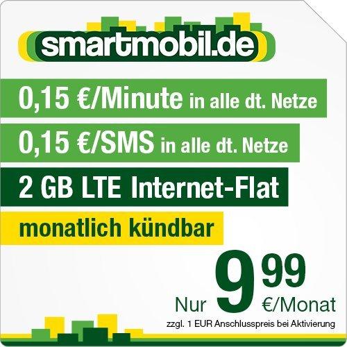 2 GB | LTE | O2-Netz | monatlich kündbar | keine Datenautomatik