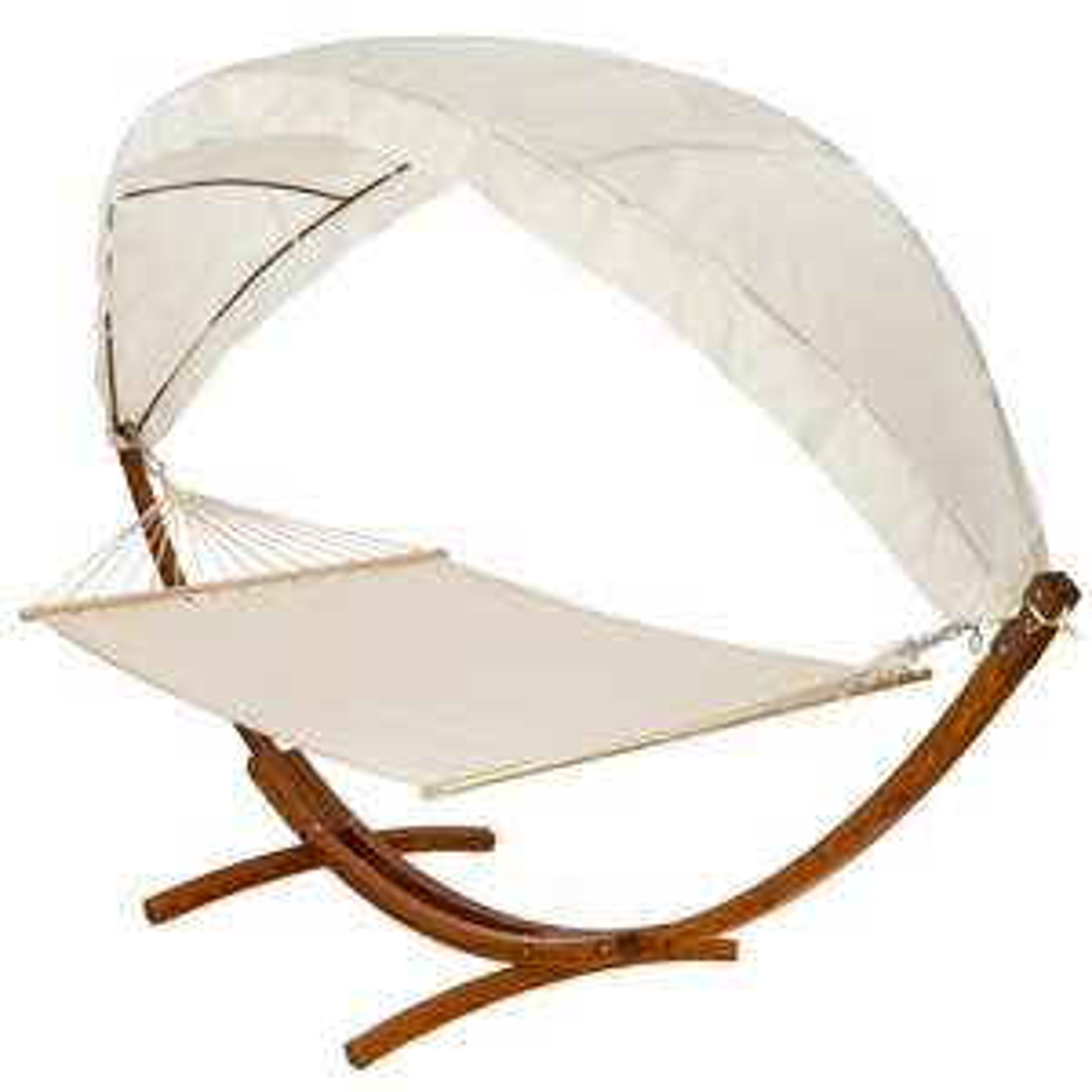 TecTake Hängematte (200x150cm) bis 190kg belastbar mit Holzgestell und Sonnendach für 111€ [JAWOLL FILIALEN]