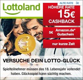 (Shoop) Lottoland Neukunden: 15€ Cashback + 5€ Amazon.de Gutschein + 4 x Lotto 6aus49 & 5 Rubellose Knack das Sparschwein nur 0,99€