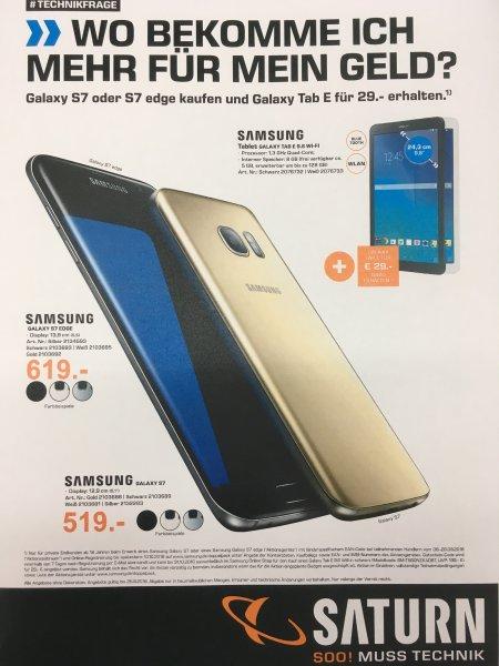 [Saturn/Media Markt Bundesweit Online & Offline] Samsung Galaxy S7 & S7 Edge mit 100€ Direktabzug 519€ bzw. 529€ / 619€ + Samsung Galaxy Tab E für 29€ Zuzahlung (ab 07.09.2016)