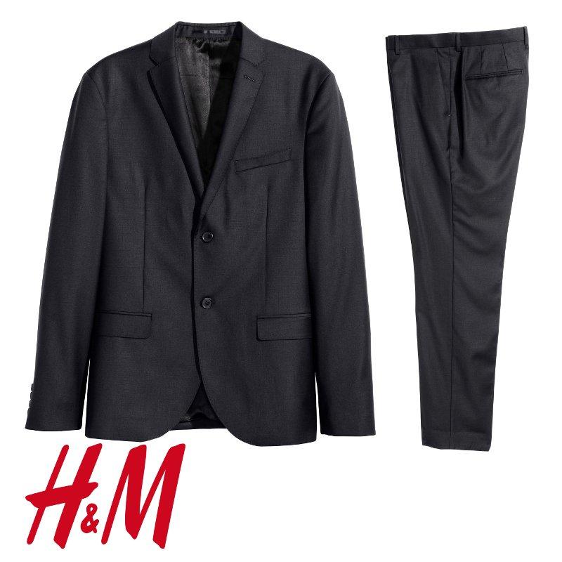 """[H&M] Anzüge aus 100 % Wolle, Slim Fit, Schwarz und Dunkelblau, """"Premium Quality"""""""