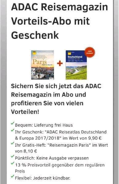 Gratis ADAC Reiseatlas Deutschland & Europa 2017/2018 + Reisemagazin Paris (Wert: 18€)