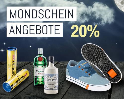 Mondscheinangebote bei Galeria Kaufhof mit 20% Rabatt auf Schöner Wohnen, Fitness und Suff (auch Sale), gültig zwischen 20 und 8 Uhr