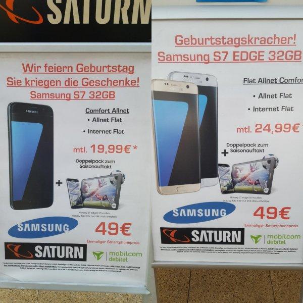 [Lokal Saturn Oberhausen] Geburtstagswerbung!! S7/S7Edge + 1GB Flat Allnet Mobilcom Debitel (Vodafone) einmalig 49€ und 19,99€/24,99€ Grundpreis Tarif (568,75€/688,75€)