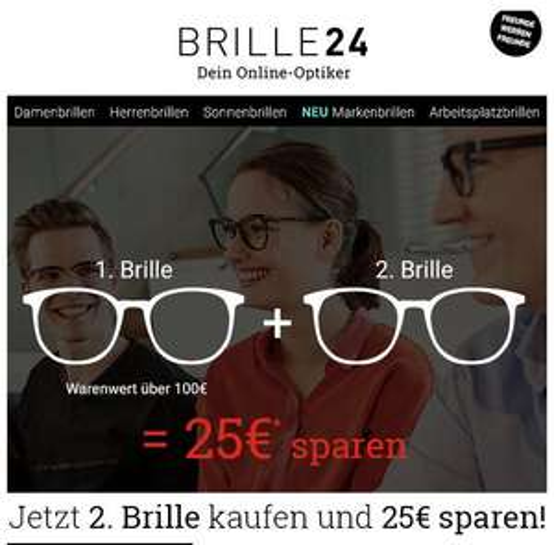 Brille24.de: 2 Brillen Kaufen... 30€ Sparen (1. Brille muss über 100€ sein)