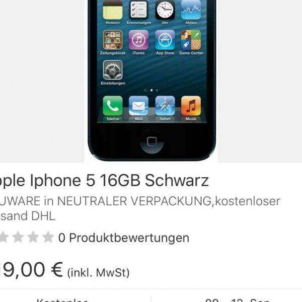 iPhone 5 schwarz, 16 GB, lt. Beschreibung neu