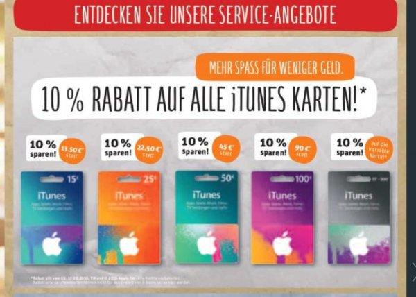 10% Rabatt auf ALLE iTunes Karten bei Rewe