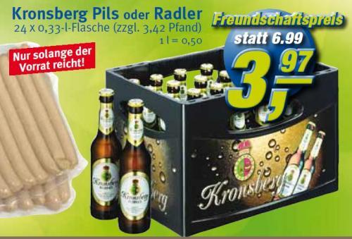 [Regional] Kronsberg Pils o. Radler 24*0,33 bei Combi und Markant