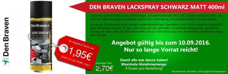 Lackspray Schwarz Matt 400ml statt 2,70€ für 1,95€ (6,85€ inkl. Porto) bei Werkstattbedarf-Online.de!