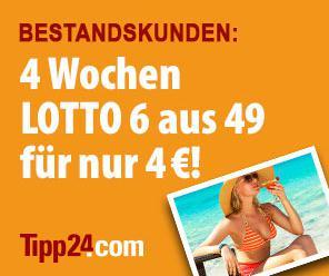 [Tipp24] 4 Wochen je 1 Lottofeld 6aus49 für die Ziehung Mittwoch & Samstag für 4€ statt 9,40€ (Bestandskunden) bzw. 1€ (Neukunden)