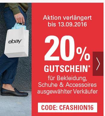 *Bis morgen* eBay 20% Gutschein auf bereits stark reduzierte Ware von adidas, Superdry, TomTailor, mcneal... eine Auswahl anbei