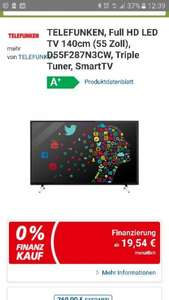 TELEFUNKEN, Full HD LED TV 140cm (55 Zoll), D55F287N3CW, Triple Tuner, SmartTV