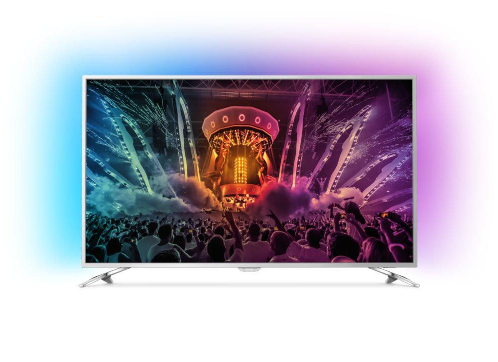 +++HDR+Ambilight 3-fach+++55PUS6581 Smart TV 139cm 55 Zoll LED 4K UHD A DVB-T2/C/S2 - Fernseher (Silber)