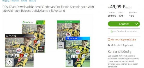 [Groupon] Fifa 17 - PC, Xbox One, PS4 - Download oder Box - mit 10 Euro Neukundengutschein noch günstiger