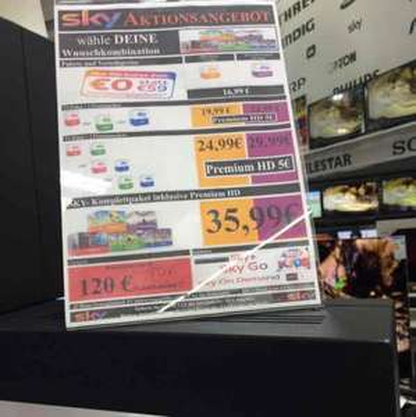 (Lokal) Für effektiv 4,99€ mtl. Sky TV Starter + Bundesliga/ Cinema / Sport Media Markt Velbert