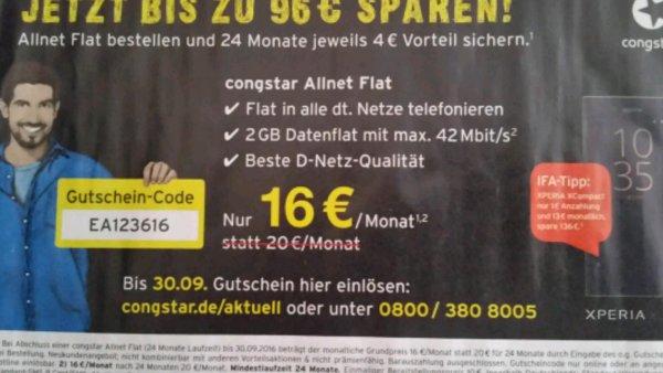 Congstar Allnetflat + 2GB im Telekomnetz ( bis zu 42Mbit ) für 16 Euro monatlich
