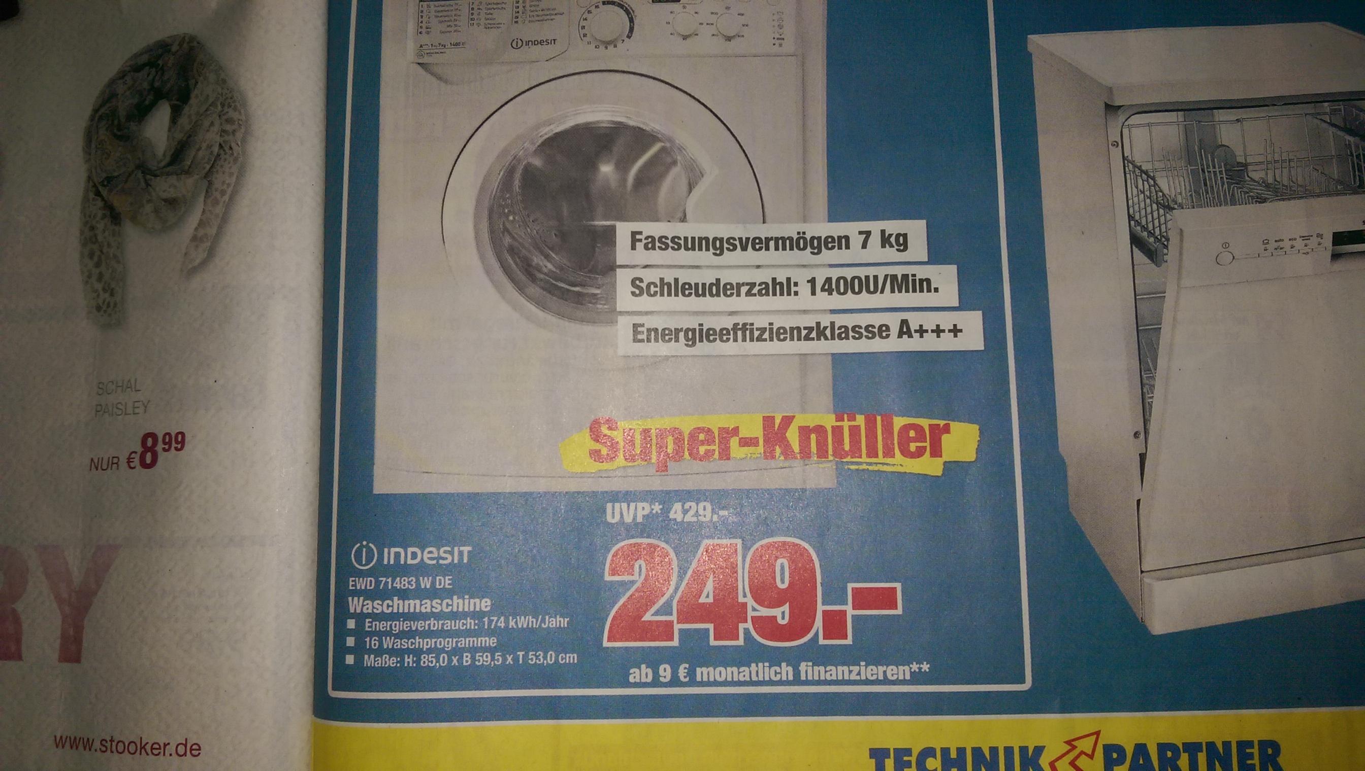 Indesit EWD 71483WDE Waschmaschine: EEK A+++, 7KG, 1400 U/min, 16 Programme für 249€ @Technik Partner Vellmar (bei Kassel) [nächster Preis 329€]