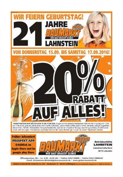 Globus Baumarkt Lahnstein 20% Aktion 15.09-17.09
