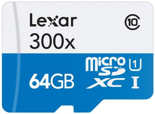 Lexar 64GB microSDXC UHS-I 300x Speed (45MB/s) High Speed Flash Speicherkarte mit SD Adapter - LSDMI64GB1EU300A