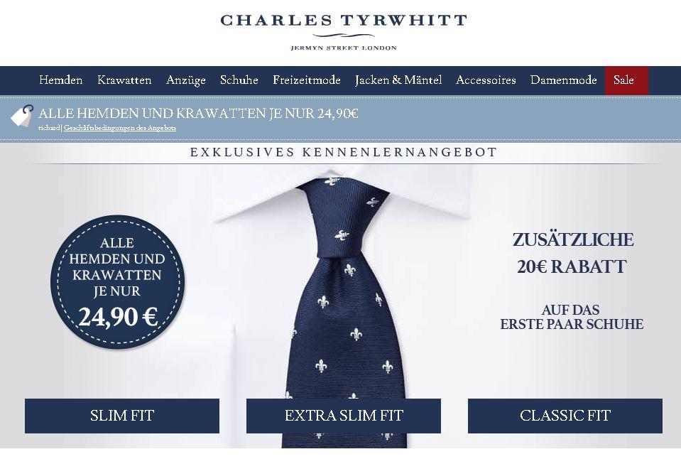 Charles Tyrwhitt: Alle Hemden und Krawatten für 24,90€ und 20€ auf das erste Paar Schuhe