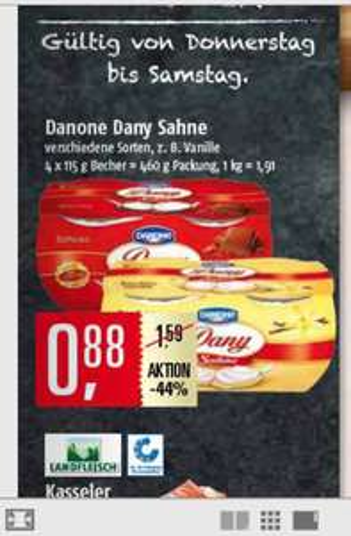 Danone Dany Sahne Joghurt für 0,88€