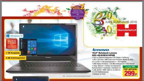 "Lenovo G50-45 80E301VPGE 15.6"", AMD Quad-Core A8-6410, 8GB RAM, 1TB HDD, Radeon R5 M330, DVD, Win10"