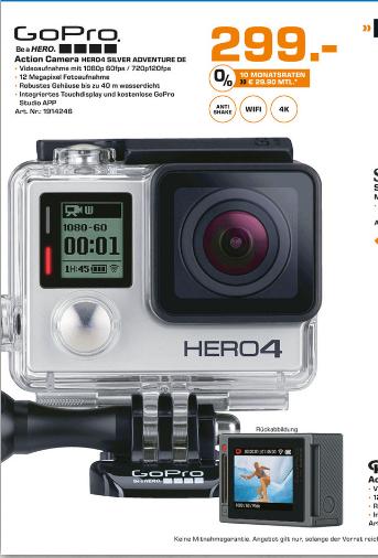[Saturn Hamburg] GoPro Hero 4 Silver 299,00€ (statt: 368,00)