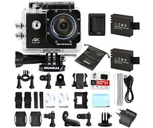 Action Cam 4k Wifi Actionkamera 16MP Sport Kamera 2.0 Zoll mit 2 Akkus, 1 externes Ladegerät sowie eine Tasche nur für 55,98 statt 63,98