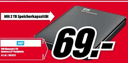 [Lokal Mediamarkt Ingolstadt] Western Digital Elements Portable 2 TB schwarz externe Festplatte USB 3.0 für 69,-€