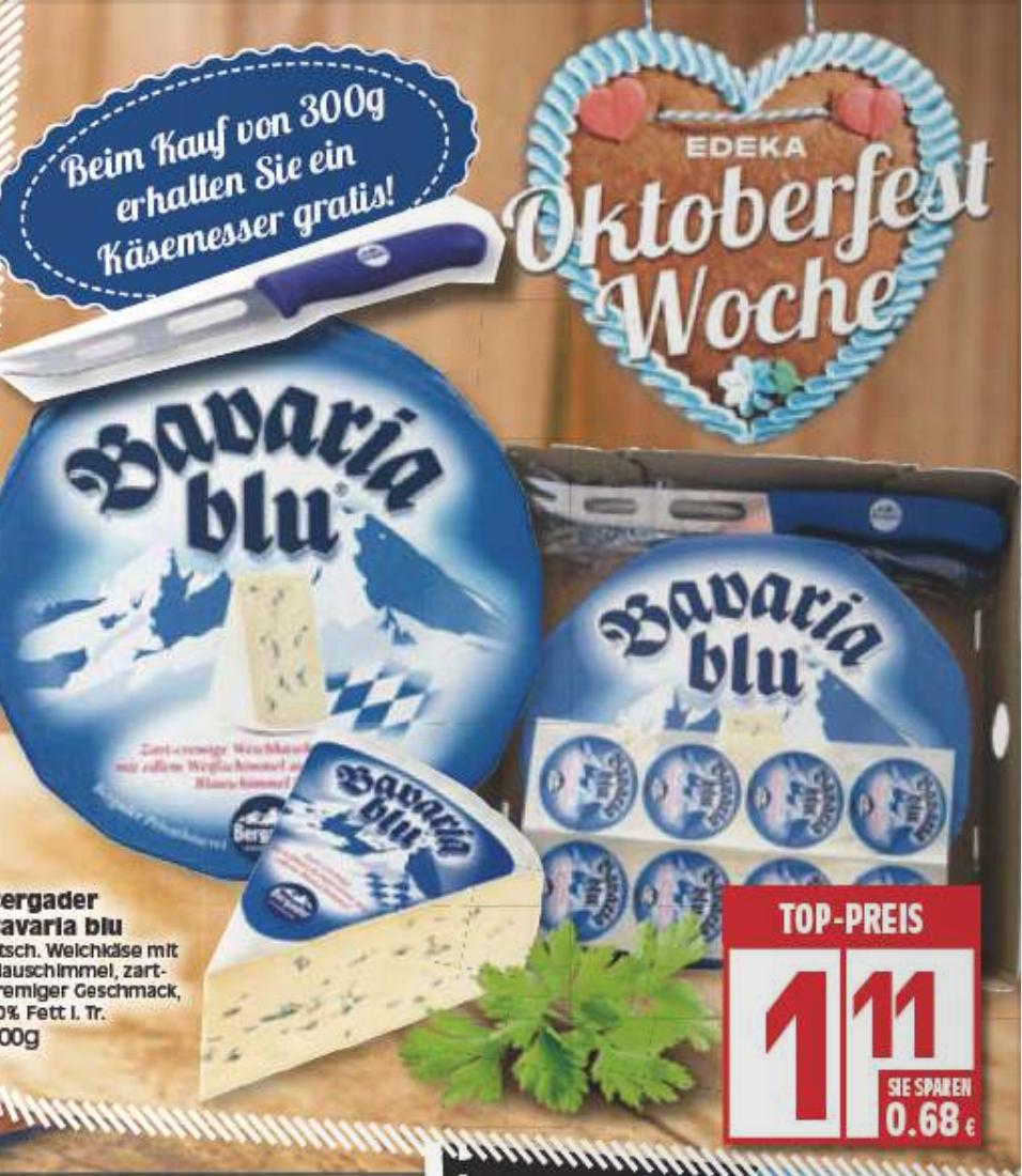 [Lokal Hannover, Berlin, ggf. weitere Städte] EDEKA 300g Bavaria Blu kaufen und Käsemesser dazu bekommen