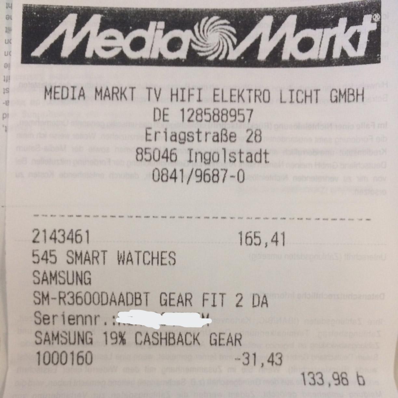 (Lokal Mediamarkt Ingolstadt) Samsung Gear Fit 2