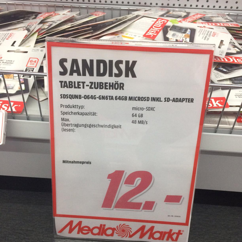 (Lokal Mediamarkt Ingolstadt) SANDISK Ultra micro-SDXC 64 GB Speicherkarte inkl. Adapter