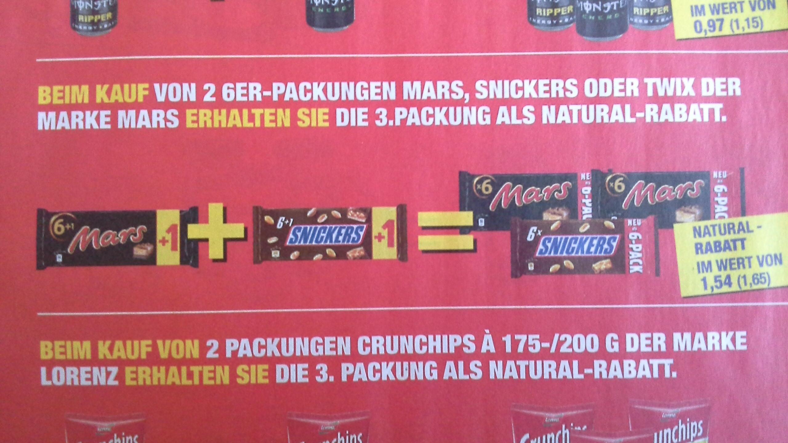 Metro    Snickers, Mars, Twix  1+1=3,  21 Riegel für 3,30 €