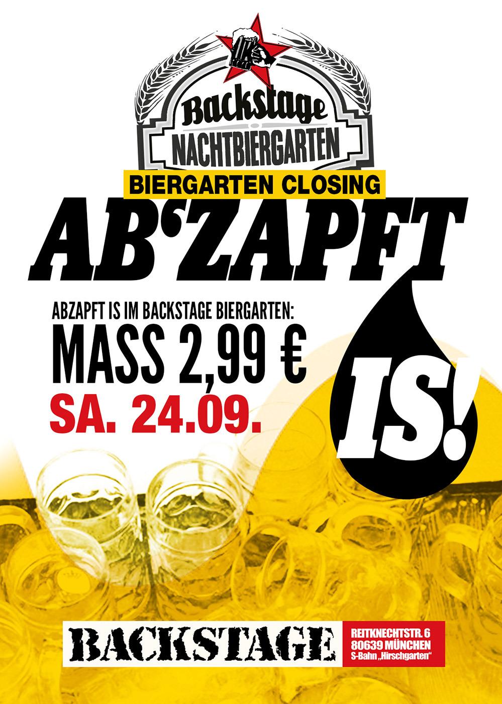 [lokal München] 18x 1l Mass  Bier König Ludwig Hell für 27€ @ Backstage Nachtbiergarten 24.09.2016 (Aktion+Gutschein)