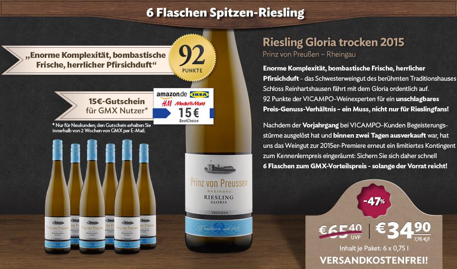[Vicampo Neukunden / GMX] 6 Flaschen Prinz von Preußen Riesling 2015 + Best Choice 15€ oder 30€  + evtl. Gläser für 34,90€