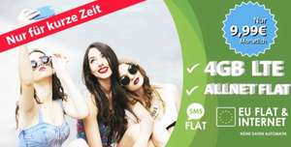 [Junge Leute] Jetzt noch günstiger! BASE-o2 Blue All-in L für 9,99 € / Monat Allnet Flat | SMS Flat | 4 GB bei 21,6 Mbit/s LTE | EU Roaming Flat | Weltweite Festnetznummer