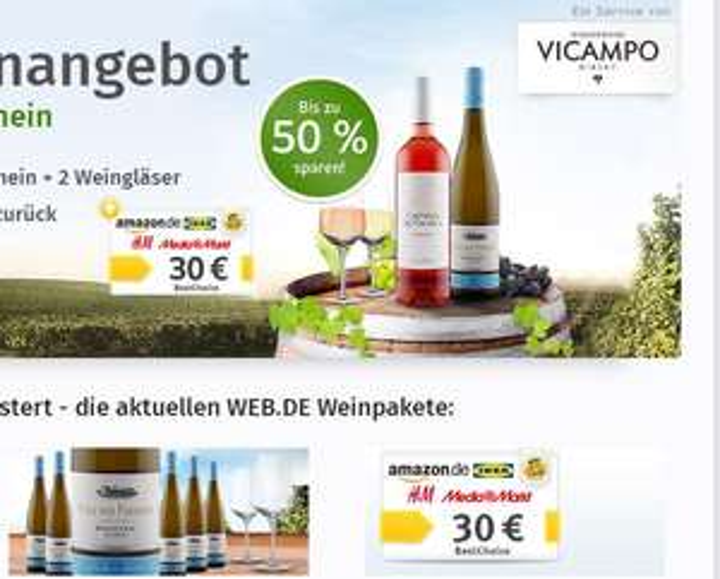 [Vicampo Neukunden / Web.de] 6 Flaschen Prinz von Preußen Riesling 2015 + Best Choice 15€ oder 30€ + evtl. Gläser für 34,90€